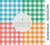 Set Of Gingham Seamless Patter...