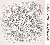 cartoon vector hand drawn... | Shutterstock .eps vector #563529400