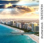 Miami Beach Aerial Skyline At...
