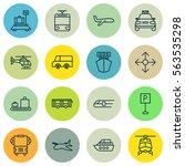set of 16 transport icons.... | Shutterstock .eps vector #563535298