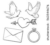 wedding  engagement icon set... | Shutterstock .eps vector #563544676