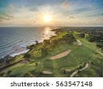 sunset over the golf tournament | Shutterstock . vector #563547148