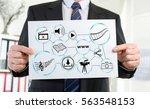 paper showing social... | Shutterstock . vector #563548153