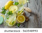 classic lemonade in glass jars  ... | Shutterstock . vector #563548993