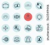 set of 16 business management... | Shutterstock . vector #563549446