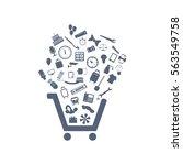 cart icon vector flat design... | Shutterstock .eps vector #563549758