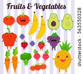 cute kawaii smiling fruits and... | Shutterstock .eps vector #563550328