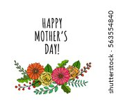 a hand drawn floral vector... | Shutterstock .eps vector #563554840