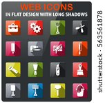 work tools icons set in flat... | Shutterstock .eps vector #563561878