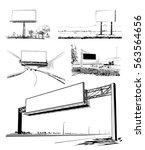 sketches of billboard set in... | Shutterstock .eps vector #563564656