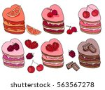 set with sweet desserts.... | Shutterstock .eps vector #563567278
