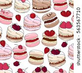 seamless pattern with sweet... | Shutterstock .eps vector #563567710