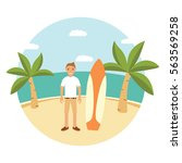 landscape  with palm tree flat... | Shutterstock .eps vector #563569258