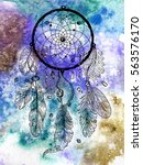 drawing of dreamcatcher on the... | Shutterstock . vector #563576170