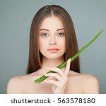 healthy model girl holding... | Shutterstock . vector #563578180