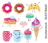set of cute desserts. donuts ... | Shutterstock .eps vector #563578660