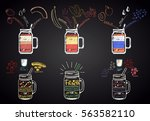 set of colored chalk drawn... | Shutterstock .eps vector #563582110
