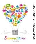 beach sea summer icons concept... | Shutterstock .eps vector #563587234