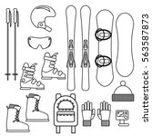 ski and snowboard gear vector... | Shutterstock .eps vector #563587873