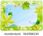 spring banner border. cute... | Shutterstock .eps vector #563588134