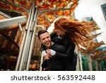 couple in love having fun in... | Shutterstock . vector #563592448