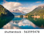 sunny summer landscape of... | Shutterstock . vector #563595478