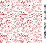 seamless pattern of hearts and... | Shutterstock .eps vector #563600338