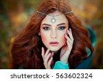 close up portrait  of beautiful ... | Shutterstock . vector #563602324