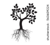 black tree and roots. vector... | Shutterstock .eps vector #563609224