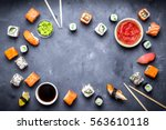 japanese sushi on a rustic dark ... | Shutterstock . vector #563610118
