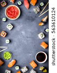 japanese sushi on a rustic dark ... | Shutterstock . vector #563610124