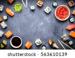 japanese sushi on a rustic dark ... | Shutterstock . vector #563610139