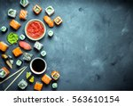 japanese sushi on a dark... | Shutterstock . vector #563610154