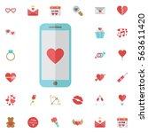 mobile heart symbol love or...   Shutterstock .eps vector #563611420