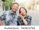 happy senior asian couple... | Shutterstock . vector #563613760