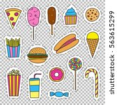bright fast food stickers ... | Shutterstock .eps vector #563615299