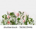 Stock photo spring flowers on white paper background greeting card with spa 563615446