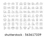 set vector line icons in flat... | Shutterstock .eps vector #563617339