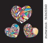 heart vector background. hand... | Shutterstock .eps vector #563620360