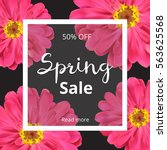dark spring banner with pink... | Shutterstock .eps vector #563625568