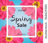 spring banner with pink flowers ... | Shutterstock .eps vector #563625583