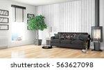 modern bright interior . 3d... | Shutterstock . vector #563627098