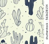 cactus seamless pattern.... | Shutterstock .eps vector #563628154
