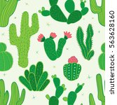 cactus seamless pattern.... | Shutterstock .eps vector #563628160