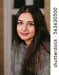beautiful young brunette woman... | Shutterstock . vector #563630500