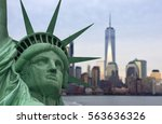 statue of liberty in front of... | Shutterstock . vector #563636326