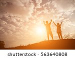 silhouette couple of girls... | Shutterstock . vector #563640808