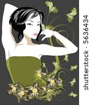 floral elements with fancy lady | Shutterstock . vector #5636434