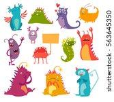 monsters vector set. kids... | Shutterstock .eps vector #563645350
