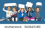 children smiling happiness... | Shutterstock . vector #563665180